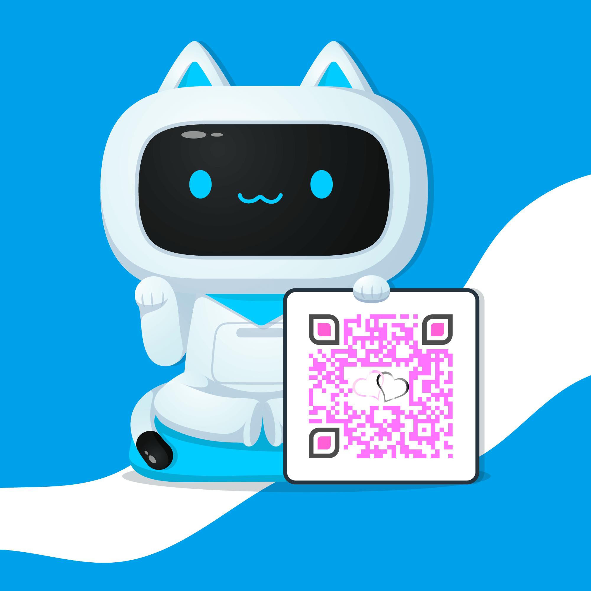 Gato muestra un código lector QR